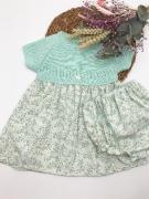 Vestido flores aguamarina con el cuerpo de punto - Ver los detalles del producto